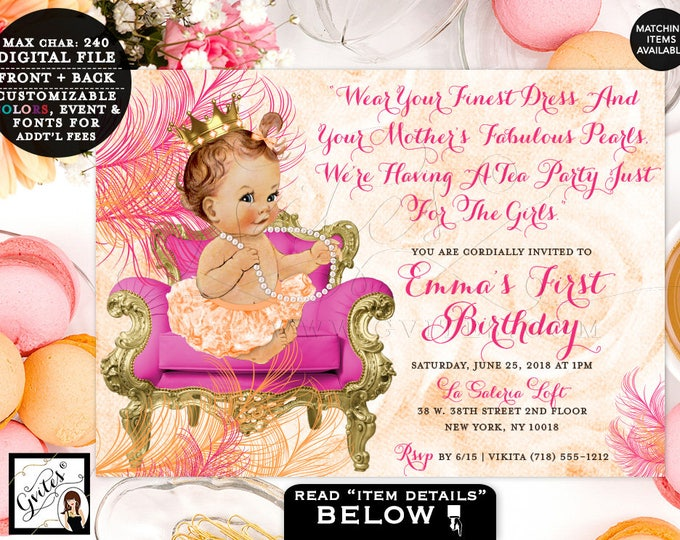 Pink and Orange First Birthday Invitation, pearls vintage princess baby girl invitations tea party 1st birthday 7x5, Digital Gvites