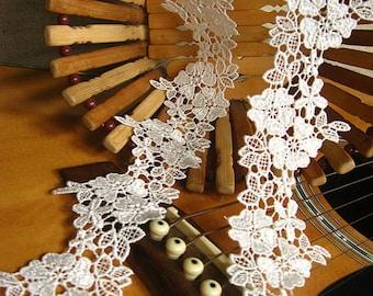 off white lace trim, white venise lace, bridal lace, lace trim, vintage lace,, exquisite flroal lace DG009B