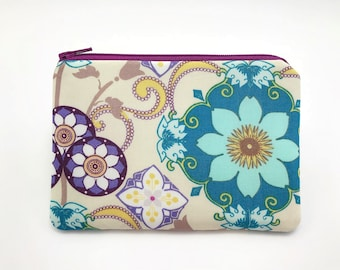 Floral Print Purse - Floral Coin Pouch with Pocket - Floral Coin Purse Wallet - Small Gifts for Friends - Flower Purse - Padded Pouch