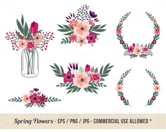 Pink Floral Clipart - Spring Flower Clipart - Hand drawn - Commercial Use - Coral Flowers - Whimsy - Mason Jar