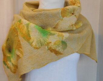 """Felted scarf. Nuno felted shawl. Nuno felted wrap. Felt. Art fiber. """"Lime"""""""