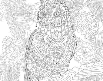 Owl. Coloring Pages. Animal coloring book pages for Adults. Instant Download Print
