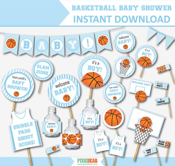 Superb Basketball Baby Shower For Boys Blue Baby Shower Baby