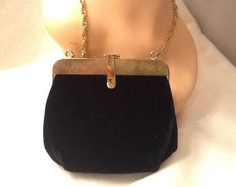 Vintage Womens Evening Purse Bag Clutch with Gold over Shoulder Chain Black Velvet Gold Clasp Ande