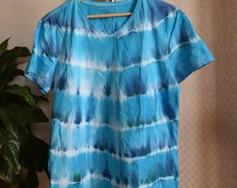 Bright Blue Striped T-Shirt V Neck