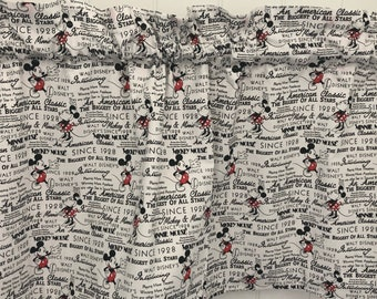 Vintage Disney Mickey and Minnie Mouse 1928 black and white curtain valance