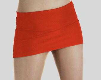 Red shiny spandex micro mini skirt