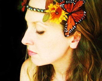 Bridal Headpiece with Flowers, Butterfly, Leaves and Pearls wear it 4 ways with free shipping worldwide