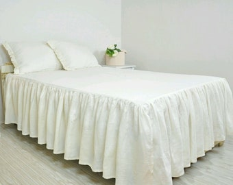 Ruffled linen bed spread,shabby chic bedding,bed cover
