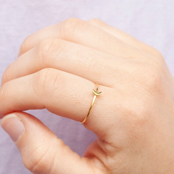 Tiny   Moon   Stacking Ring   Gold Ring   Stacking Ring    Zodiac   Gold Ring   Silver Ring   Ring   Moon Ring   Band Ring   Moon   P3 R0288 by Etsy
