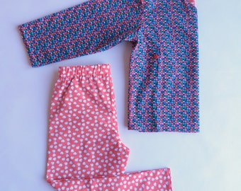 Interior/kimono/cotton style print set apples/red floral multicolor T 6 years