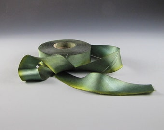 "GREENERY SILK Satin RIBBON Hanah   Chameleon 1"" Wide 3  yd length"