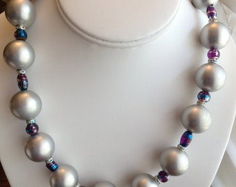 Large Silver Pearl Necklace.