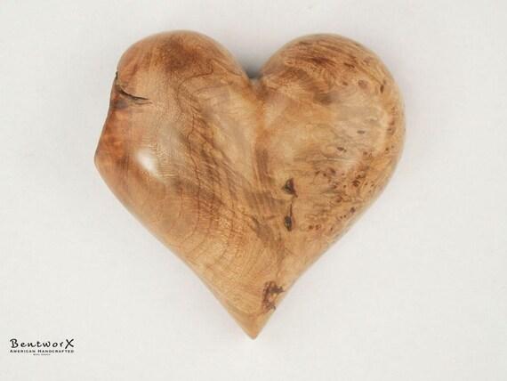 """Broken Heart """"Beautiful"""" Wooden Heart   Antique Maple Burl Heart Wall Art   Bentworx™"""