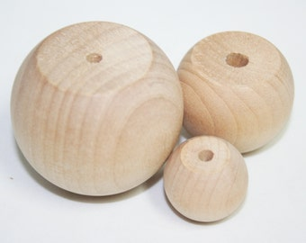Lot of 5- Unfinished Wood Doll Heads, Dresser Drawer Knobs, Furniture Knobs, Crafting Knobs, Ball Knobs Choose Your Size