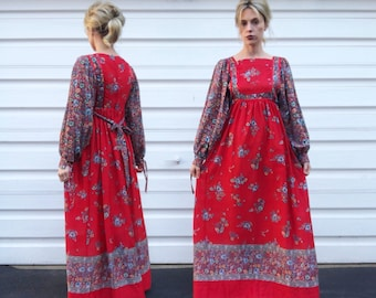 Vintage 70s Young Edwardian by Arpeja Red Blue Mini Floral Patterned Bishop Sleeve Bohemian Belted Long Sleeve Maxi Dress S