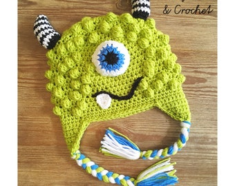 Crochet Monster hat, beanie or earflap style, Made to Order, Choose your colors, newborn to adult