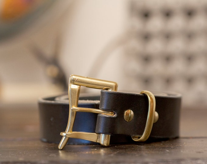 """1.5"""" Black Bridle Leather Quick Release Belt with Solid Brass or Nickel Plated Hardware - Made to Order"""
