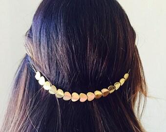 Grecian Inspo Bridal Hair festval Crown Head Band in Plated Flexible Wire Heart Beaded Boho chic wreath wedding hair