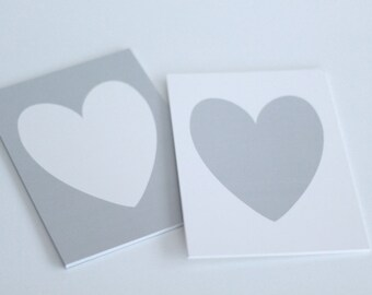 grey and white heart prints // White Heart on Silver Shimmer background // Silver heart on white shimmer background // 5x7 print set of 2