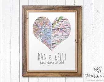 Customized Heart Map Art Printable, Double Map, DIGITAL Custom Personalized Printable, DIGITAL FILE Wedding decor, Marriage, love