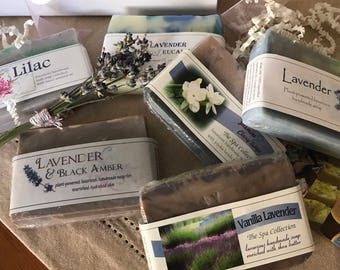 Gift Box 6 Lavender, Lilac and Floral Handmade Natural Soaps / Cold Process Soap / Mother's Day Gift Set / Gifts For Her / Vegan Gift Soap