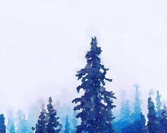 Forest Watercolor Brush Illustration Painting