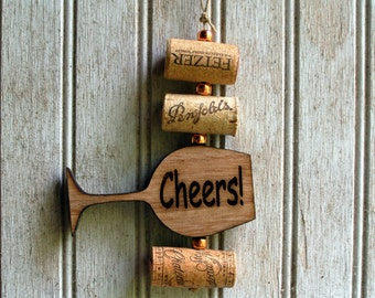 Wine Cork Ornament, Cheers Wine Glass and Recycled Wood Handmade Ornament