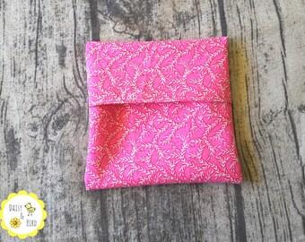 Mini Wet Bag / Pad Wrapper  - Pink Vines