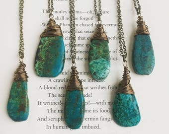 Turquoise Necklace - Genuine Turquoise Pendant on Antiqued Brass Chain - Long Layering Necklace