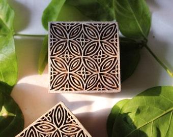 floral Wooden stamp Squar stamp Wooden stamp stamp wooden block textile block pottery stamp hand block print stamp Handmade block handcarved