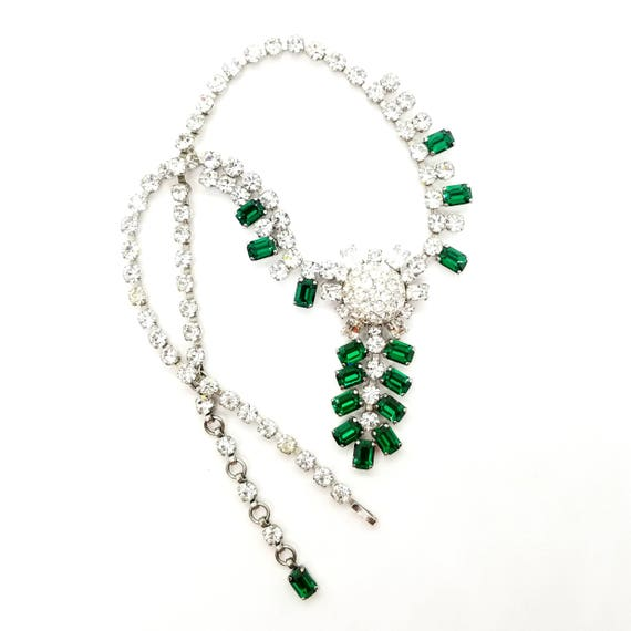 Vintage Austrian Green Drop Rhinestone Necklace by Schoffel