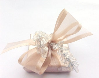 Unique Chocolate Wedding Favors with Gorgeous Champagne Wrapping and Silk Organza Ribbon