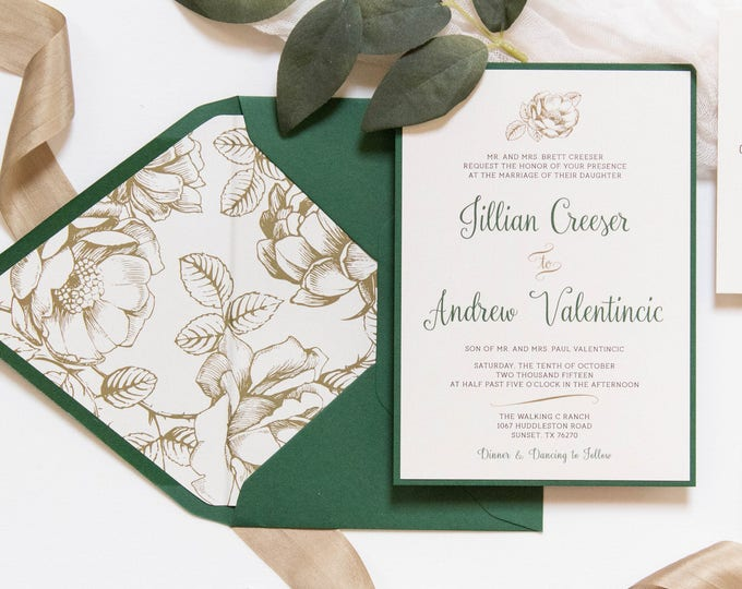 SAMPLE 5x7 Metallic Gold Floral & Forest Green Wedding Invitation with Directions Insert, Postcard RSVP and Envelope Liner. Different Color