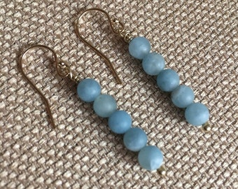 Genuine Aquamarine Earrings, 14K GF Earwires Semiprecious Gemstone, Long Stacked Earrings Aqua Earrings Blue Earrings, Beaded Earrings March