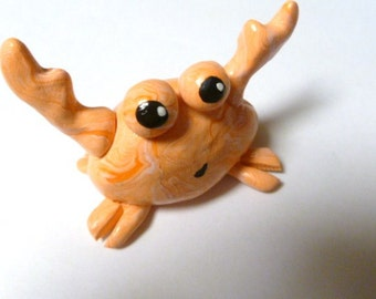 Mini Marble Friends Not So Crabby Crab Creamsicle Swirl Orange and Light Pink