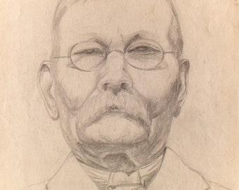 AUGUSTUS JOHN - original vintage pencil drawing - c1950s (Important 20th Century British artist)