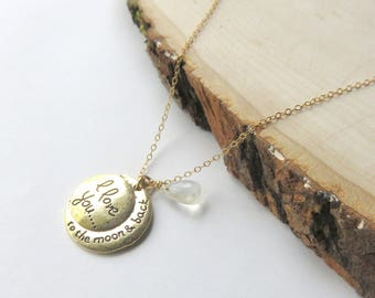 Moonstone Necklace, Gold Fill Chain, To the Moon and Back, Sentiment Necklace, Gold Moonstone Jewelry, Thoughtful gift for Her