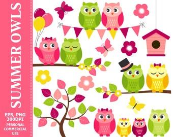 Summer Owls Clip Art - Owl, Summer, Flowers, Bunting, Branch, Butterflies Clip Art