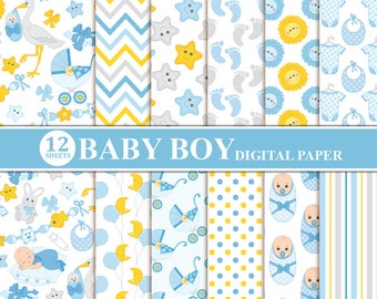 Baby Boy Digital Paper - Baby Boy Scrapbooking Paper, Newborn Digital Paper, Baby Boy Paper, Baby Shower Digital Paper
