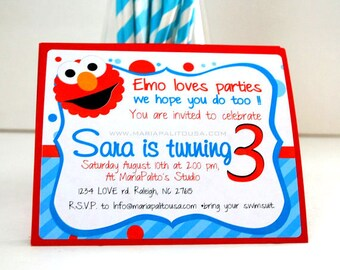 6 Elmo Invitations, Handmade Elmo Inspired Invitations Aqua Blue stripped and polka dot Invitations  A786