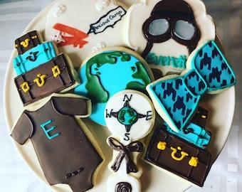 1 dozen travel themed baby shower cookies!
