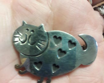 Sterling Silver Cat Brooch Pin