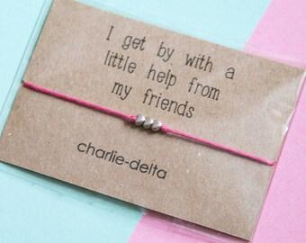 Friendship bracelet - friendship gift - wish bracelet - best friends - long distance friendship - thank you friend - tie on bracelet