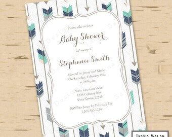 Tribal Arrow Baby Shower Invitation You Edit- Boho Navy Grey Green DIY INSTANT DOWNLOAD Editable Pdf TR005
