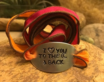 I love you to the moon and back silk wrap bracelet, yoga bohemian bracelet, Valentine's Day, graduation gifts, gift for her or him