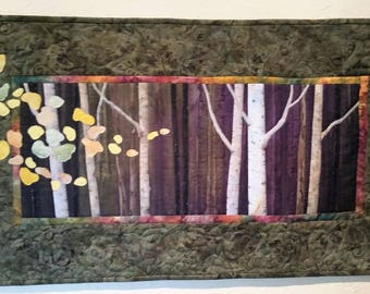 Quilted Landscape- Into the Woods II- Original appliqued wall quilt