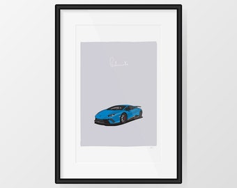 Lamborghini Huracán Performante - Blue Print Illustration