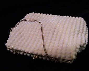 Vintage LA REGALE White Lucite Beaded Purse Very Clean
