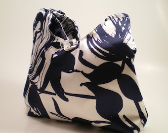 Handbag with Navy Flowers